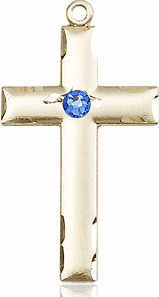 Bliss Mfg Swarovski Crystal September Sapphire Birthstone 14kt Gold Cross