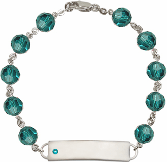 Bliss Mfg Swarovski December Zircon Birthstone Sterling ID Bracelet