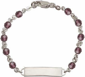 Bliss Mfg Swarovski February Amethyst Birthstone Sterling ID Bracelet