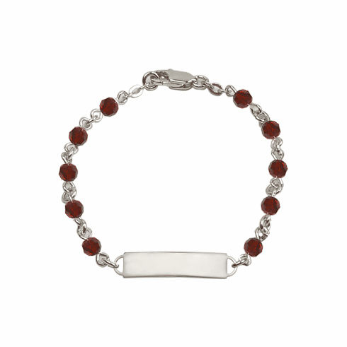 Bliss Mfg Swarovski January Garnet Birthstone Sterling ID Bracelet