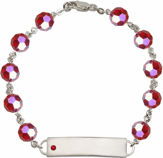Bliss Mfg Swarovski July Ruby Birthstone Sterling ID Bracelet