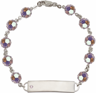 Bliss Mfg Swarovski June Lt Amethyst Birthstone Sterling ID Bracelet