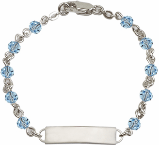 Bliss Mfg Swarovski March Aqua Birthstone Sterling ID Bracelet