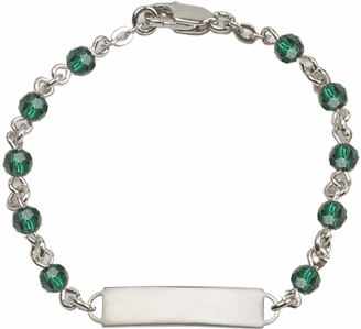 Bliss Mfg Swarovski May Emerald Birthstone Sterling ID Bracelet