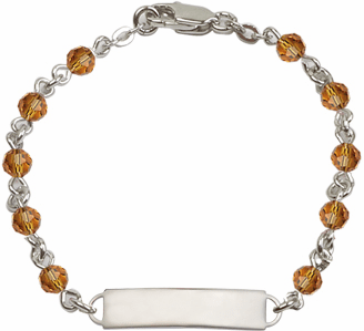 Bliss Mfg Swarovski November Topaz Birthstone Sterling ID Bracelet