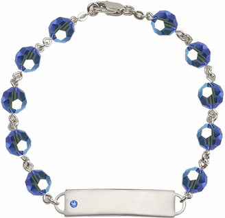Bliss Mfg Swarovski September Sapphire Birthstone Sterling ID Bracelet