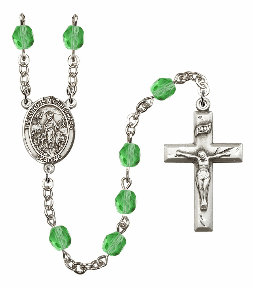 Bliss Mfg The Lord is My Shepherd August Peridot Birthstone Rosary