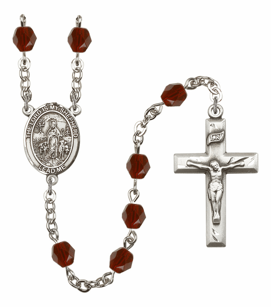 Bliss Mfg The Lord is My Shepherd January Garnet Birthstone Rosary