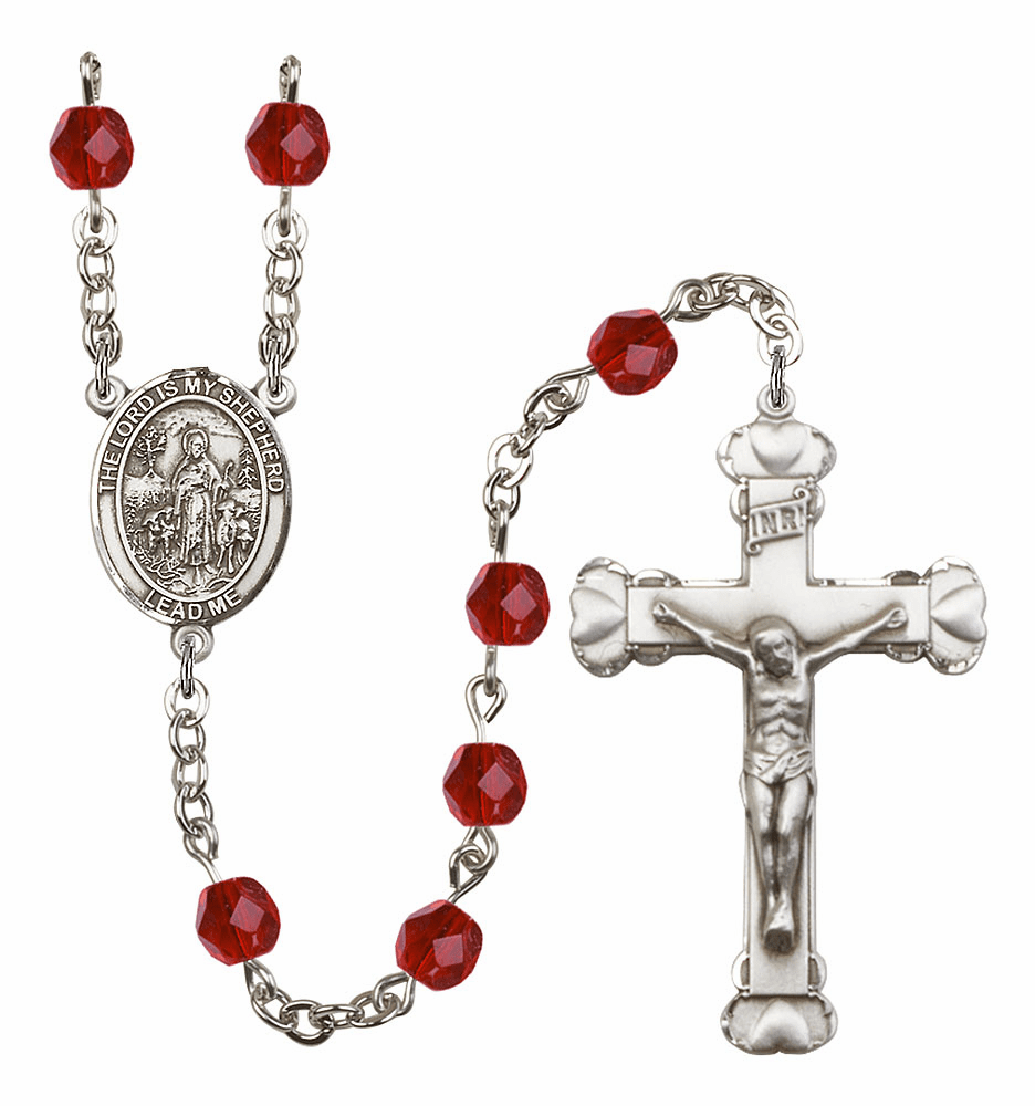 Bliss Mfg The Lord is My Shepherd July Ruby Birthstone Heart Rosary