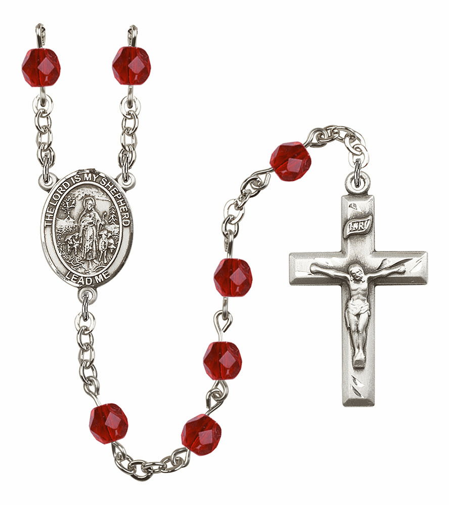 Bliss Mfg The Lord is My Shepherd July Ruby Birthstone Rosary