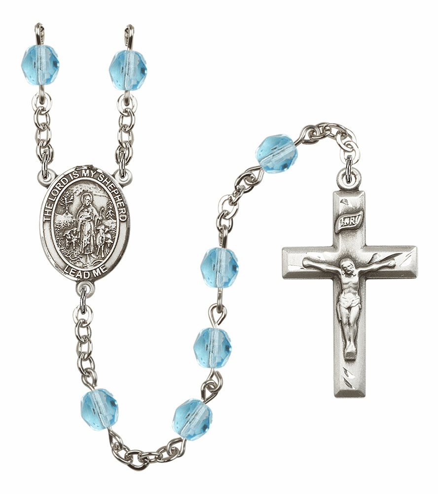 Bliss Mfg The Lord is My Shepherd March Aqua Birthstone Rosary