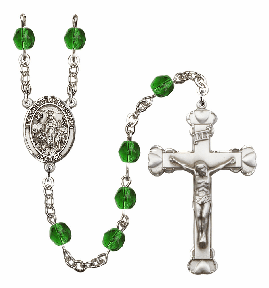 Bliss Mfg The Lord is My Shepherd May Emerald Birthstone Heart Rosary