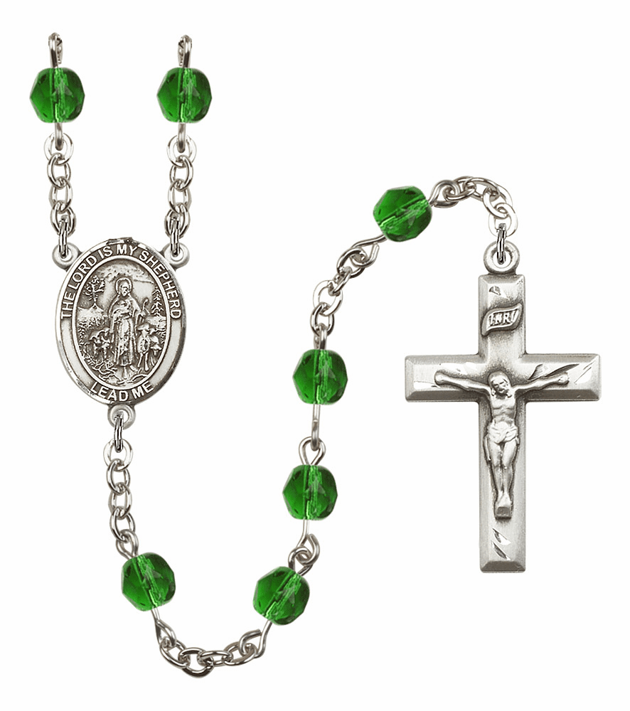 Bliss Mfg The Lord is My Shepherd May Emerald Birthstone Rosary