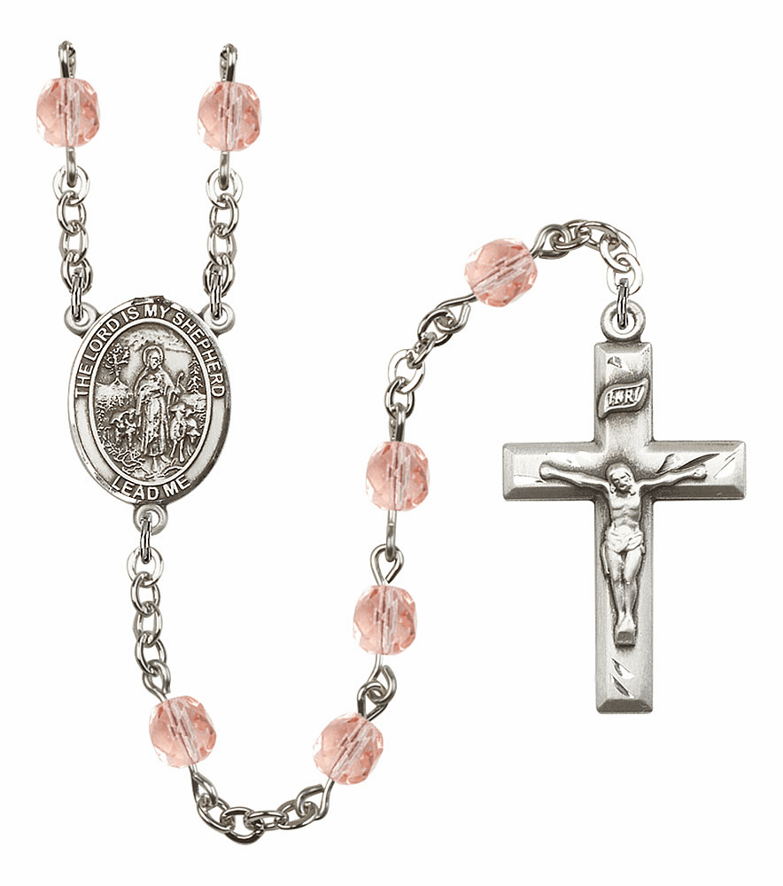 Bliss Mfg The Lord is My Shepherd October Rose Birthstone Rosary
