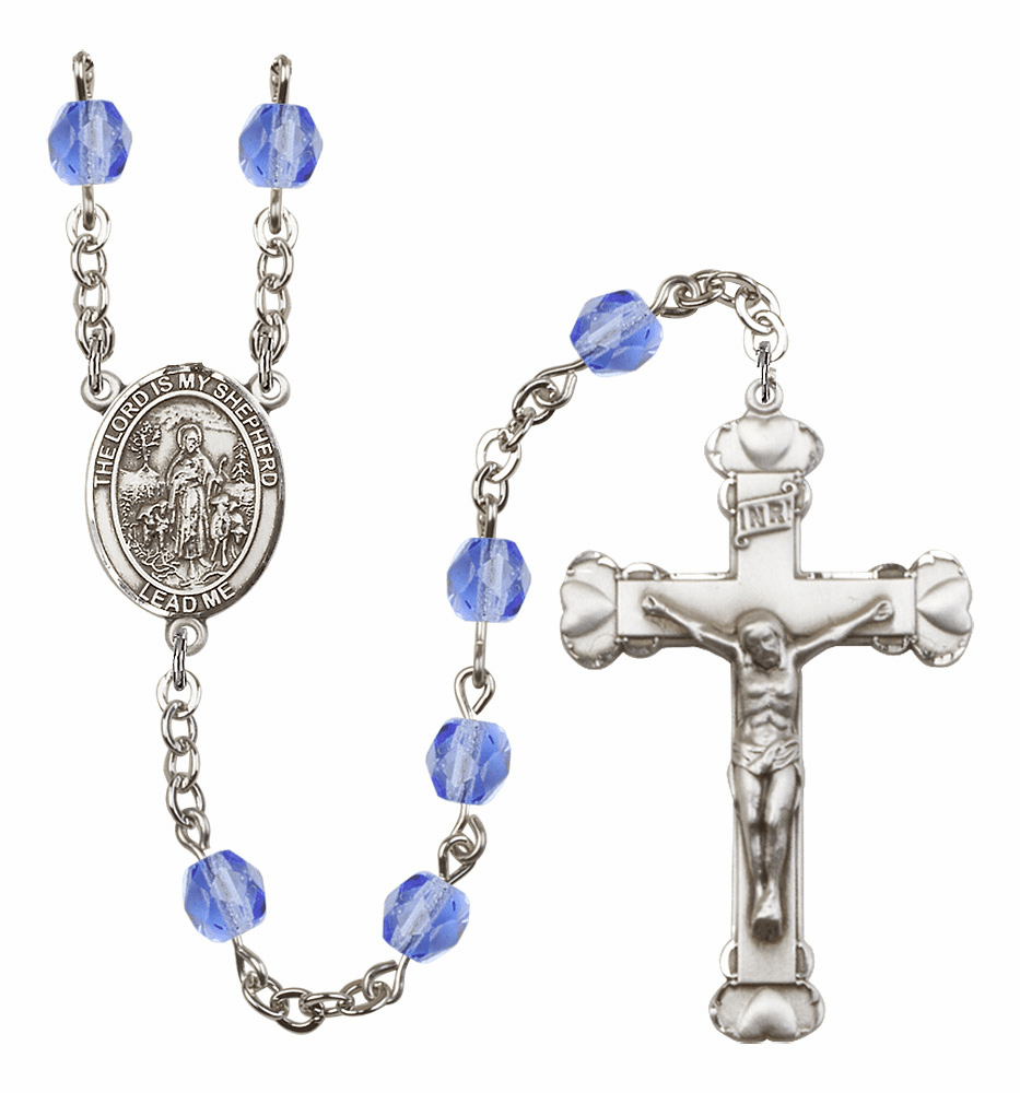 Bliss Mfg The Lord is My Shepherd September Sapphire Birthstone Heart Rosary