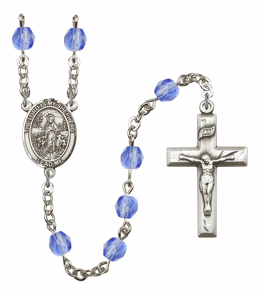 Bliss Mfg The Lord is My Shepherd September Sapphire Birthstone Rosary