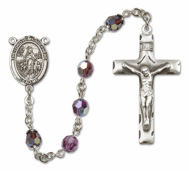 Bliss Mfg The Lord is My Shepherd Sterling Silver Amethyst Swarovski Rosary