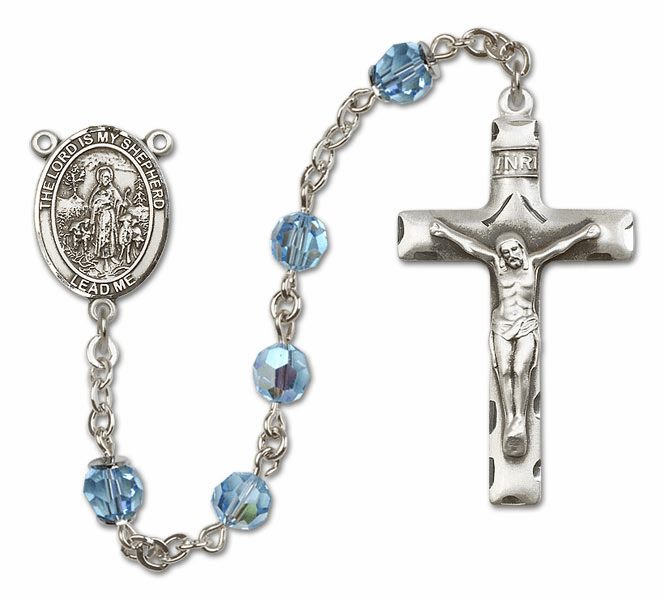 Bliss Mfg The Lord is My Shepherd Sterling Silver Aqua Swarovski Rosary