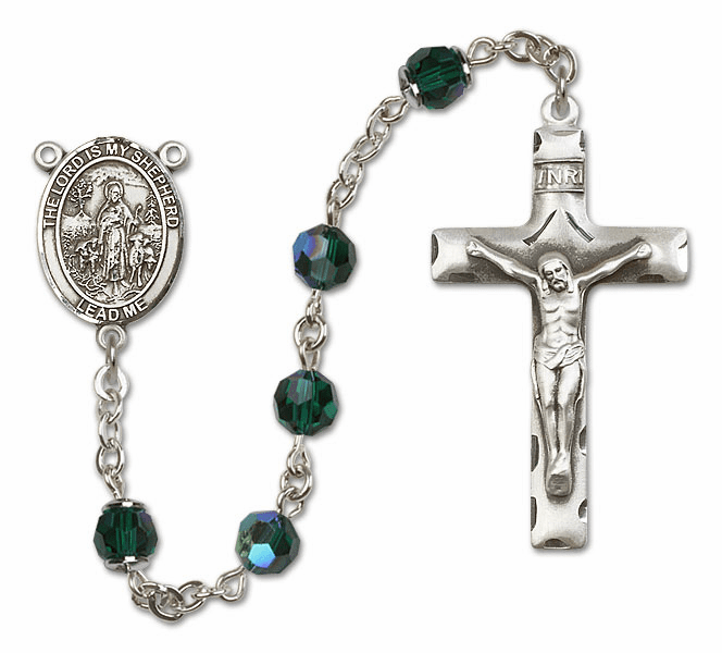 Bliss Mfg The Lord is My Shepherd Sterling Silver Emerald Swarovski Rosary