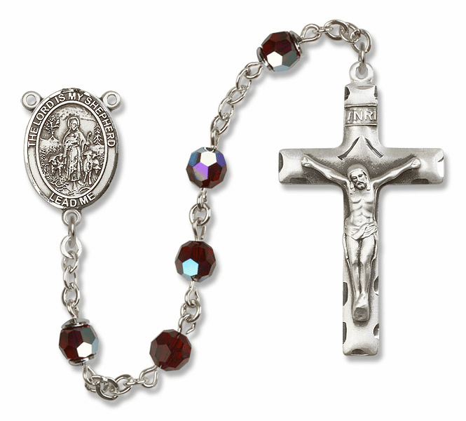 Bliss Mfg The Lord is My Shepherd Sterling Silver Garnet Swarovski Rosary