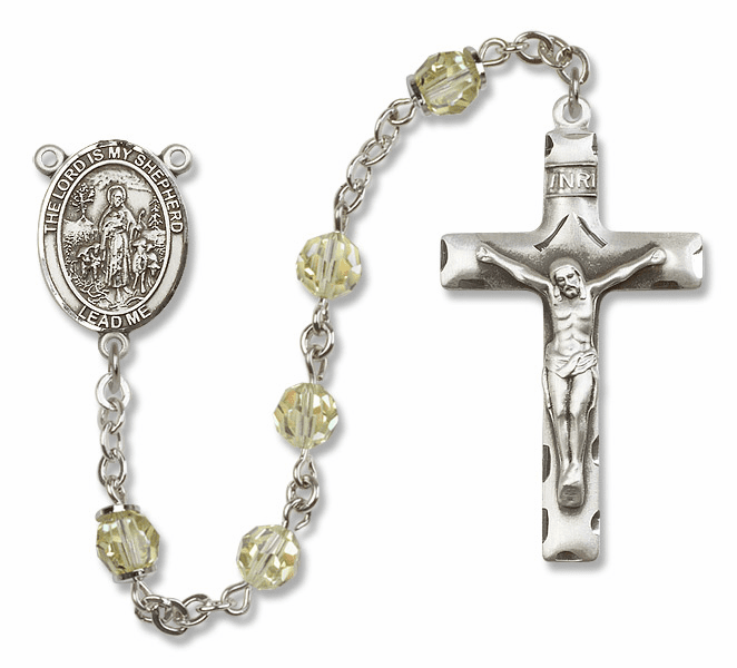 Bliss Mfg The Lord is My Shepherd Sterling Silver Jonquil Swarovski Rosary