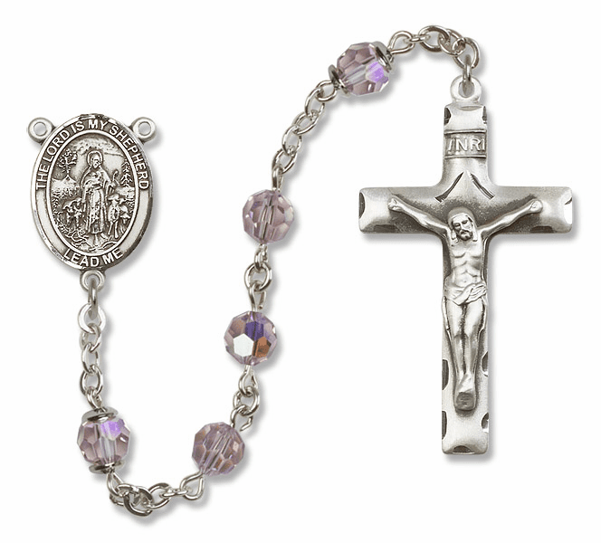 Bliss Mfg The Lord is My Shepherd Sterling Silver Lt Amethyst Swarovski Rosary