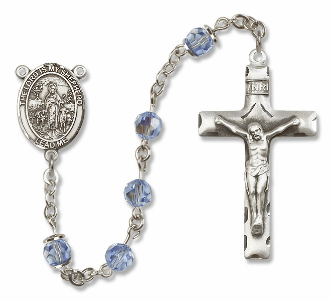 Bliss Mfg The Lord is My Shepherd Sterling Silver Lt Sapphire Swarovski Rosary
