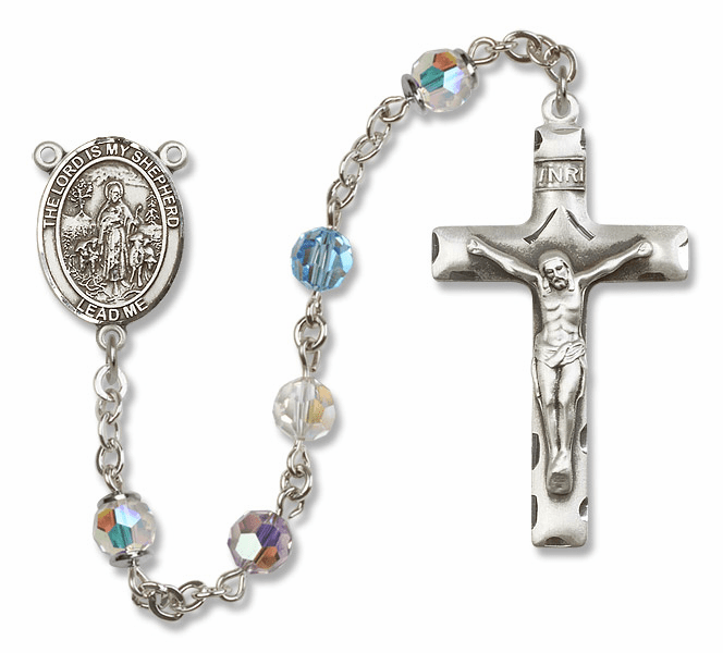 Bliss Mfg The Lord is My Shepherd Sterling Silver Multi-Color Swarovski Rosary