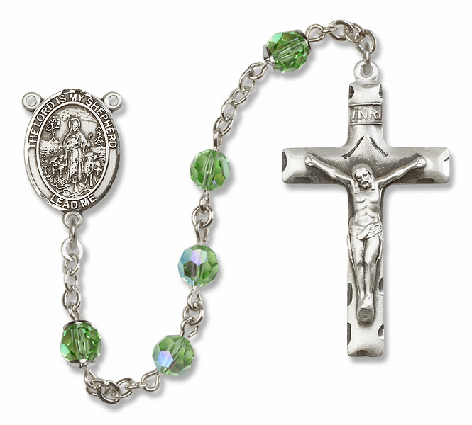 Bliss Mfg The Lord is My Shepherd Sterling Silver Peridot Swarovski Rosary