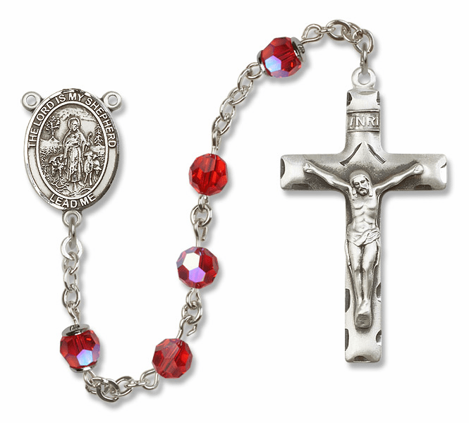 Bliss Mfg The Lord is My Shepherd Sterling Silver Ruby Swarovski Rosary