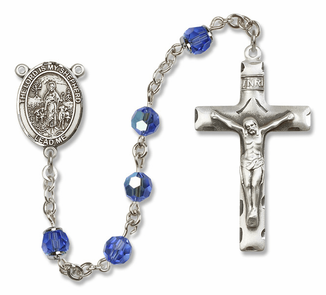 Bliss Mfg The Lord is My Shepherd Sterling Silver Sapphire Swarovski Rosary