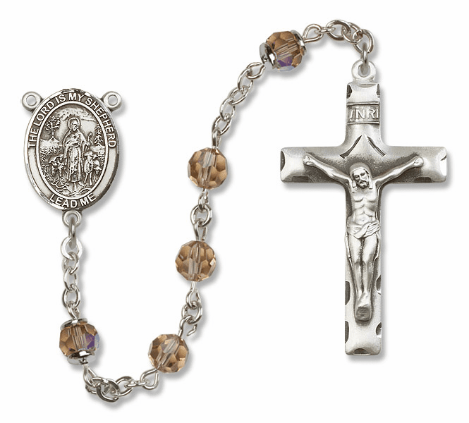 Bliss Mfg The Lord is My Shepherd Sterling Silver Topaz Swarovski Rosary