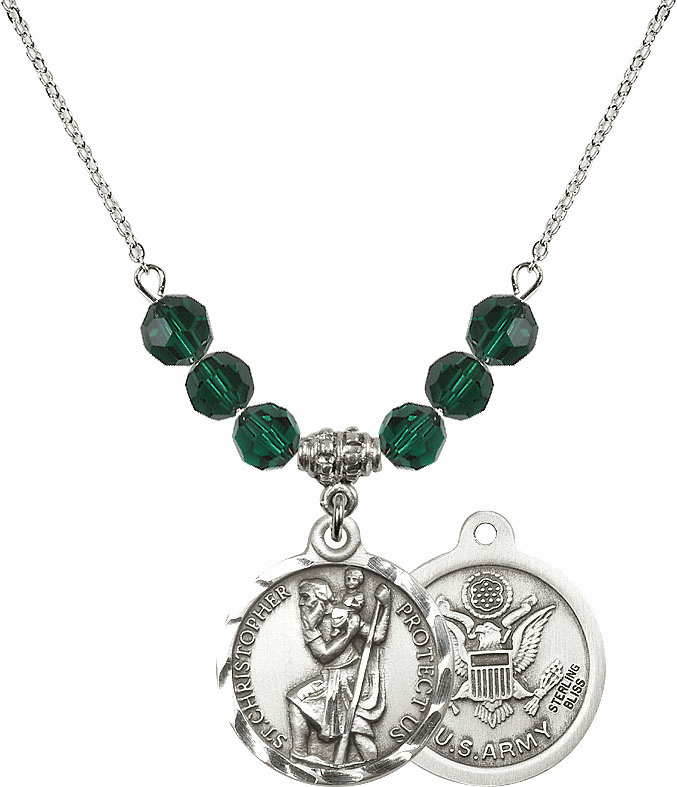 """Bliss Mft US Army St Christopher Round Medal 6mm Beaded Necklace  """"More Options"""""""