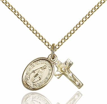 Bliss Miraculous and Crucifix 14kt Gold-filled Christian Medal Set Necklace
