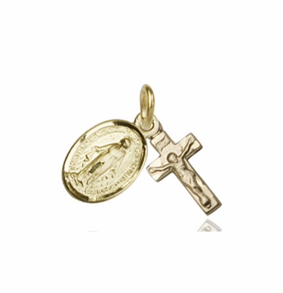 Bliss Miraculous and Crucifix 14kt Yellow Gold Christian Medal Set Necklace