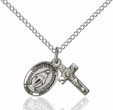 Bliss Miraculous and Crucifix Sterling Silver Christian Medal Set Necklace