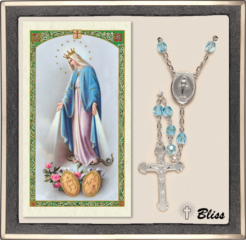 Bliss Miraculous Medal Silver Aqua Rosary and Prayer Card