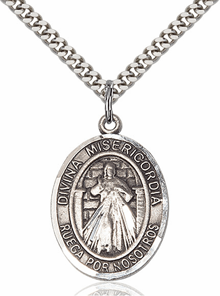 Bliss Spanish Divina Misericordia & St Maria Faustina Pewter Patron Saint Necklace