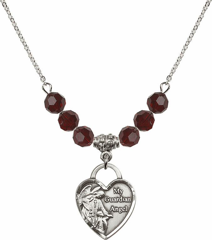 My Guardian Angel Heart Beaded Charm Necklaces