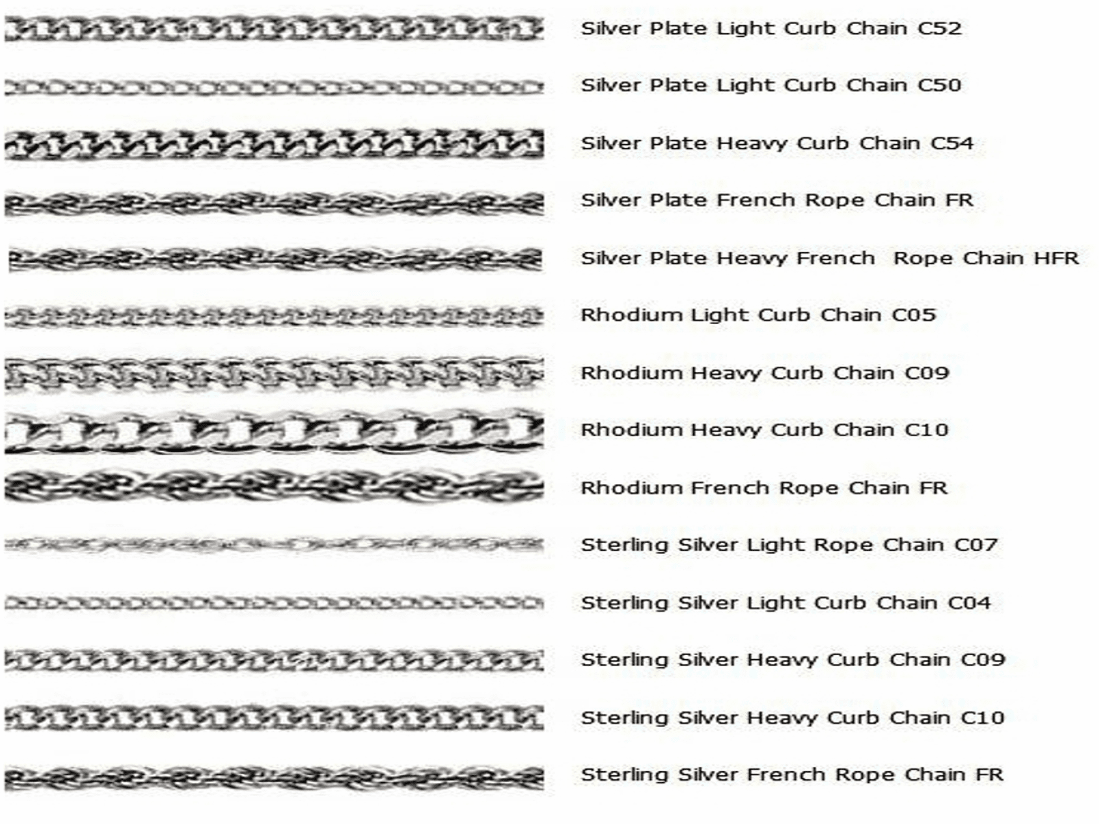 Bliss Options for Sterling Silver  and Silver-plated Chains