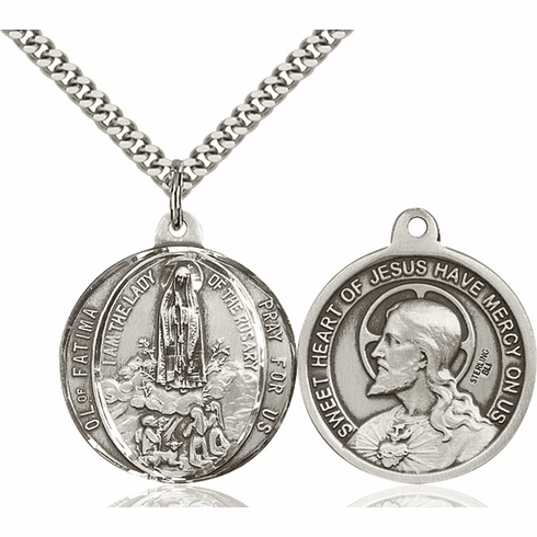 Bliss Our Lady of Fatima and Sacred Heart of Jesus Sterling Medal Necklace