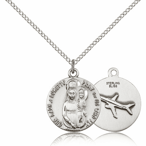 Bliss Our Lady of Loretto Necklace w/Airplace on Back