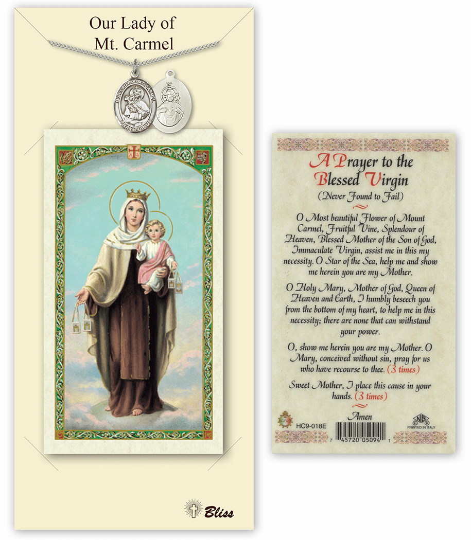 Bliss Our Lady of Mount Carmel Necklace and Prayer Card Set