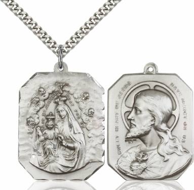 Bliss Our Lady of Mount Carmel/Sacred Heart of Jesus Pendant Necklace