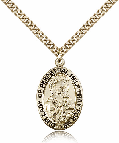 Bliss Our Lady of Perpetual Help 14kt Gold-Filled Patron Medal Necklace
