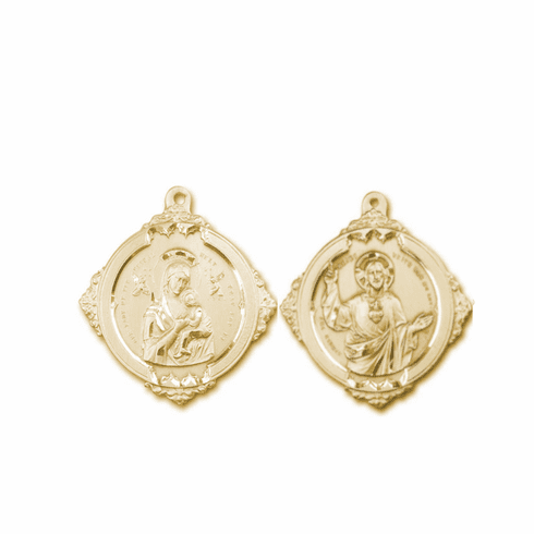 Bliss Our Lady of Perpetual Help with Sacred Heart 14kt Gold Medal Pendant