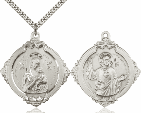 Bliss Our Lady of Perpetual Help with Sacred Heart Medal Necklace
