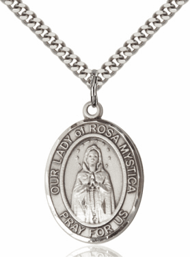 Bliss Our Lady Of Rosa Mystica Sterling Silver Medal Necklace