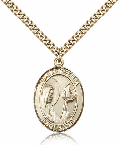 Bliss Our Lady Star of the Sea 14kt Gold-filled Medal Necklace