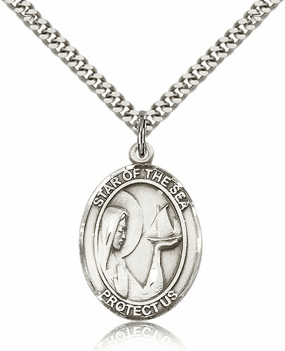 Bliss Our Lady Star of the Sea Sterling Silver Medal Necklace